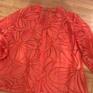 Sheer button up blouse very pretty